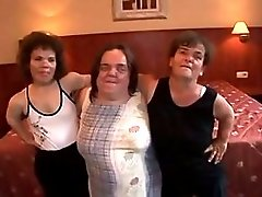 3 Homely Hairy Midget Grannies Please Each Others Pussies